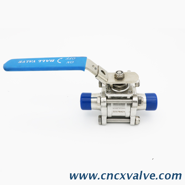 Sanitary 3pc Tri-clamp Ball Valve with Pneumatic Actuator