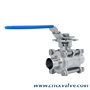 Sanitary 3pc Ball Valve with Extended Tube Butt Weld ISO5211 Mounting Pad