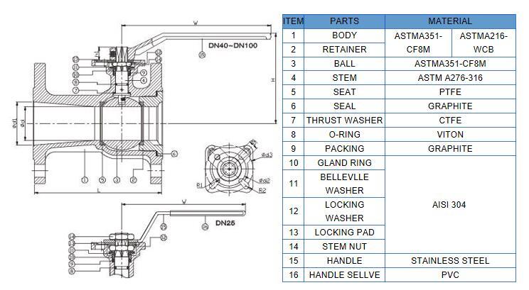 1pc body reduced bore ball valve