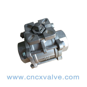 3PC Ball Valve With Iso5211 Mounting Pad 1000wog