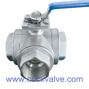3 Way Screwed Ball Valve with Mounting Pad